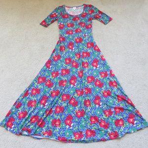 NWOT Lularoe M Ana Dress Blue White Red Teal Flora